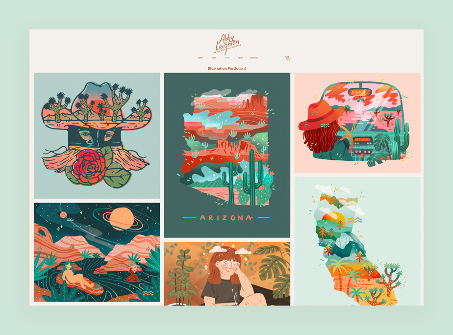 illustration portfolio website example by abby leighton