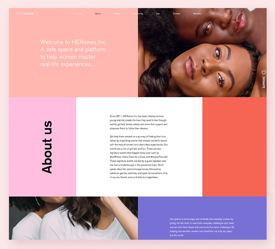 About us page example by Heroines