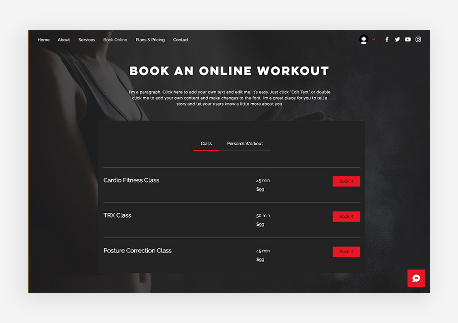 fitness website template with good ux and booking feature