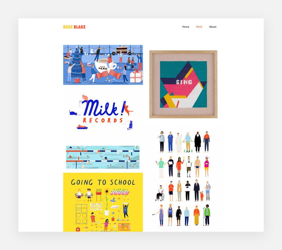 Illustrator website example by Rose Blake