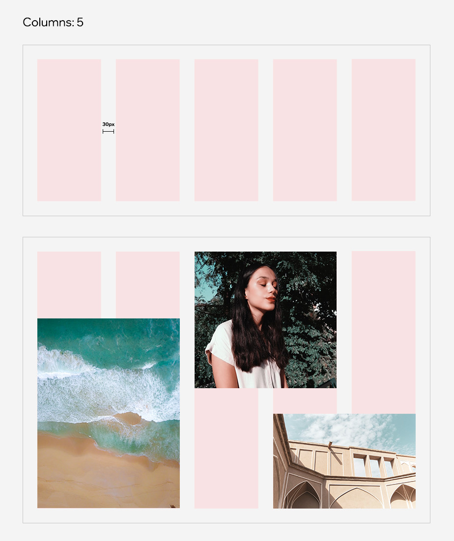 example of grid system in style guide with images of an ocean, a girl meditating, and the facade of a building