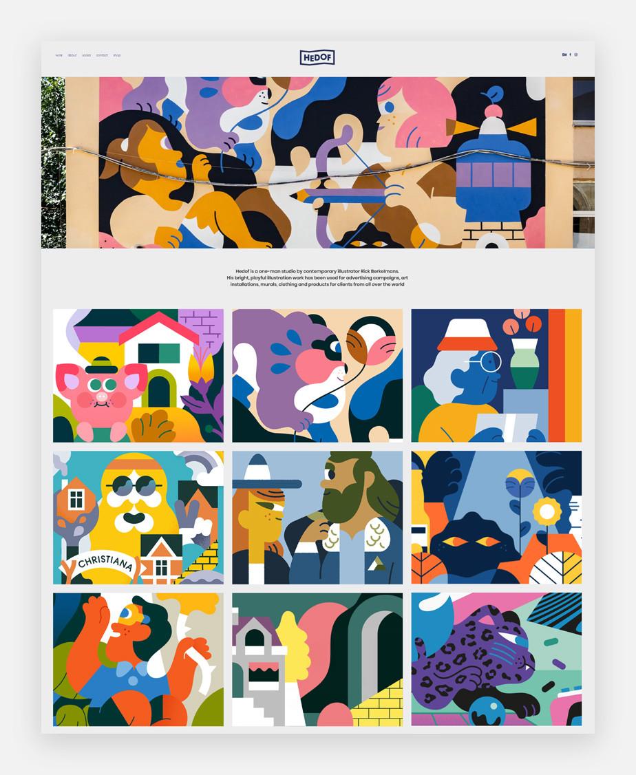 illustration portolio website example by hedof
