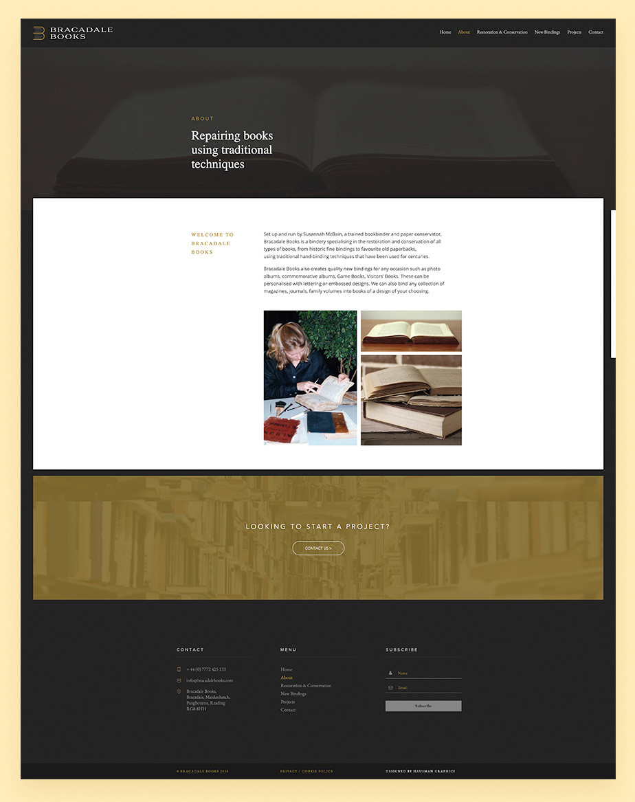 About us page example by Bracadale Books