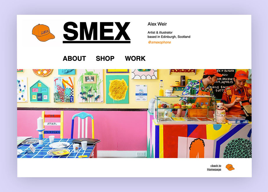 Art portfolio website example by SMEX