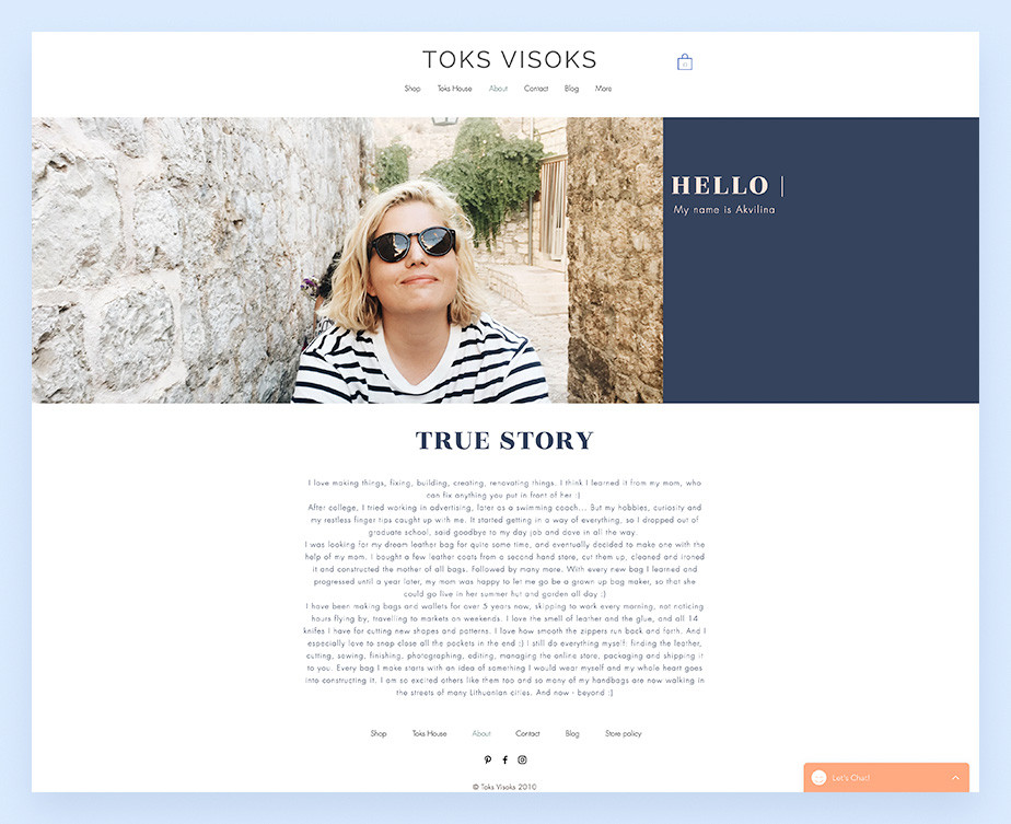 About us page example by Toks Visoks