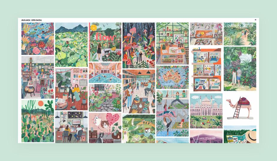 Illustration portfolio website example by Miranda Sofroniou