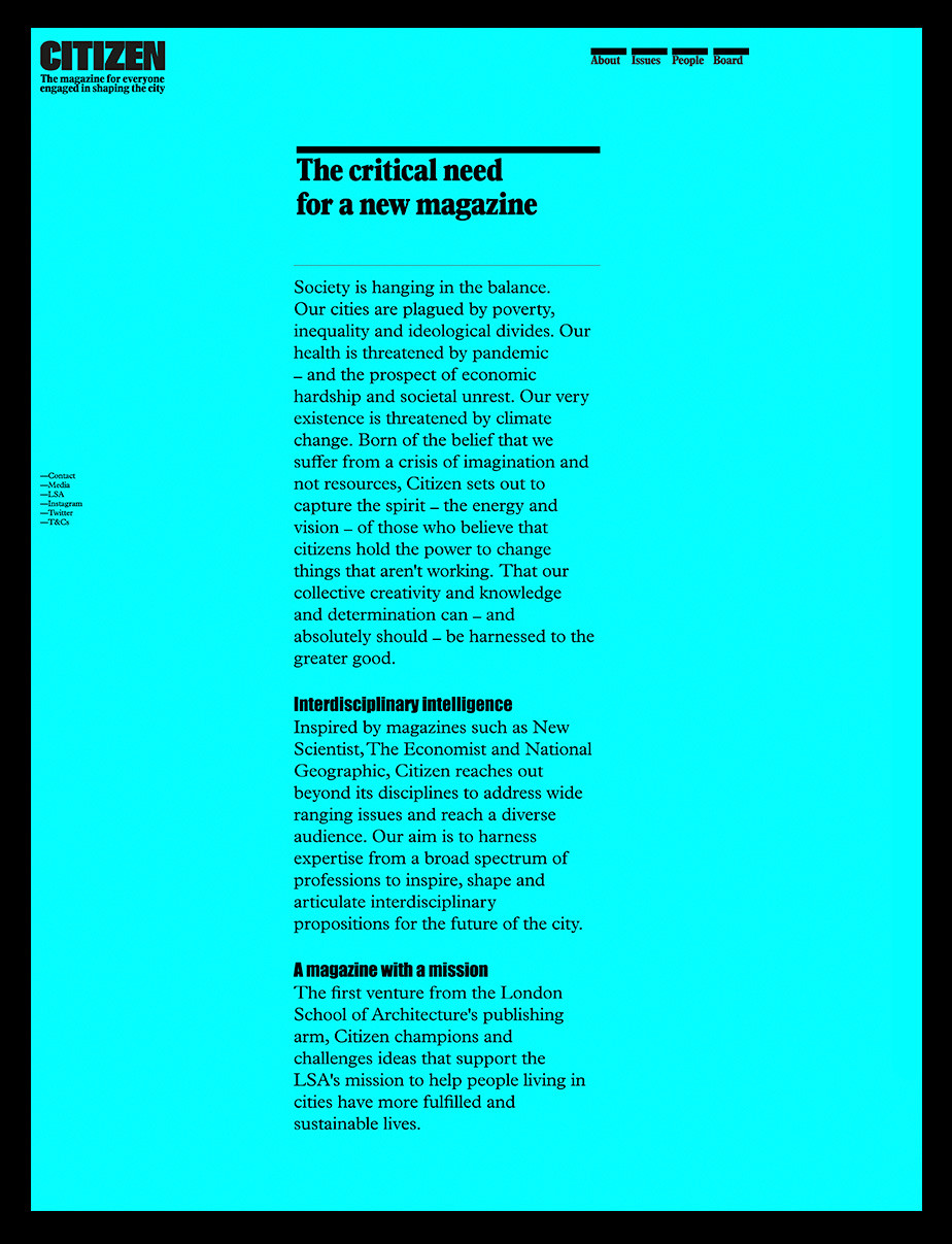 About us page example by Citizen Magazine