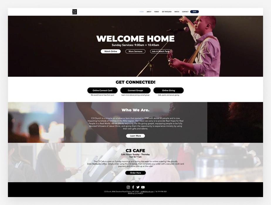 Best Church websites example by C3 church