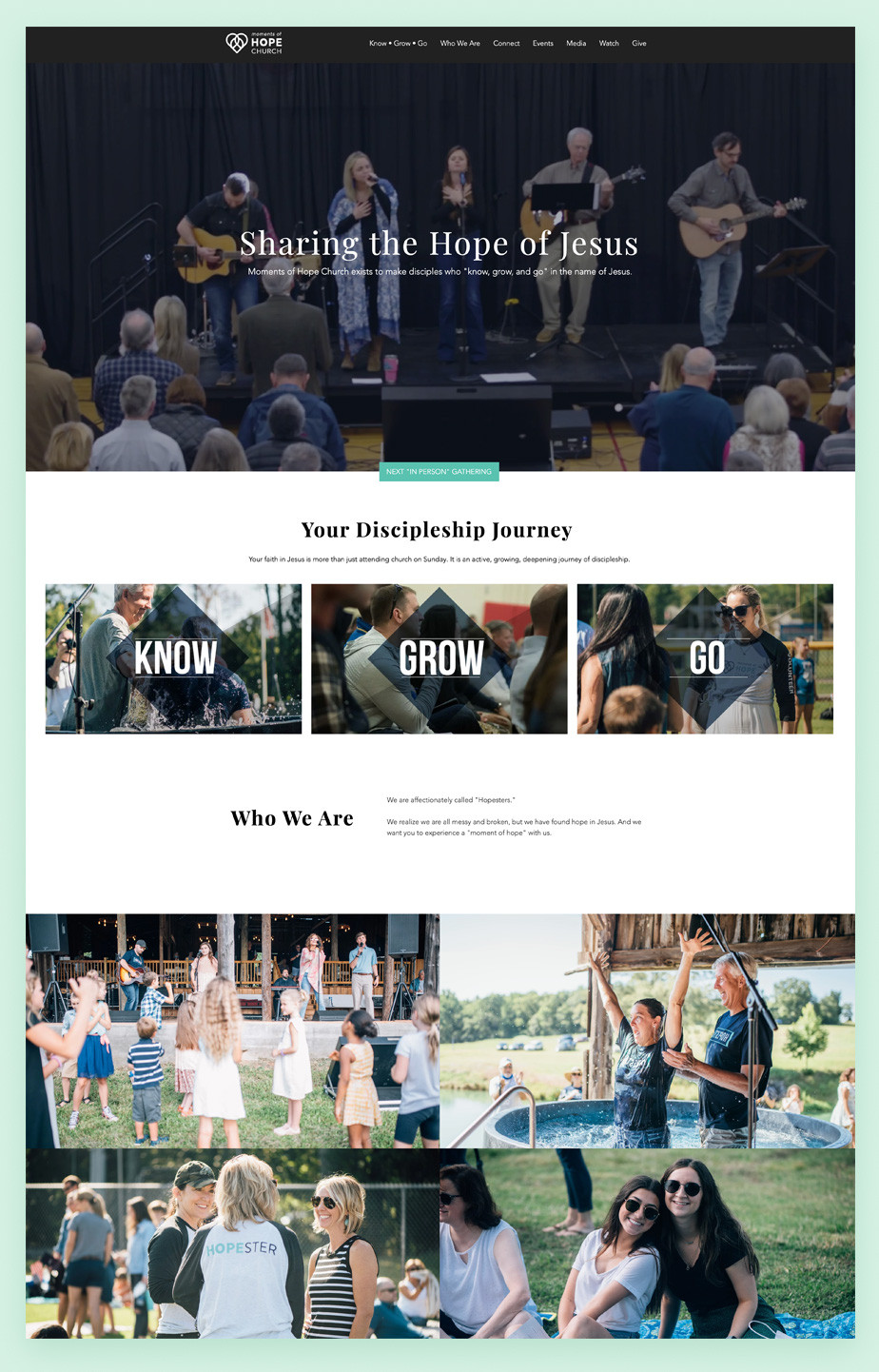 Best church websites example by Moments of Hope Church