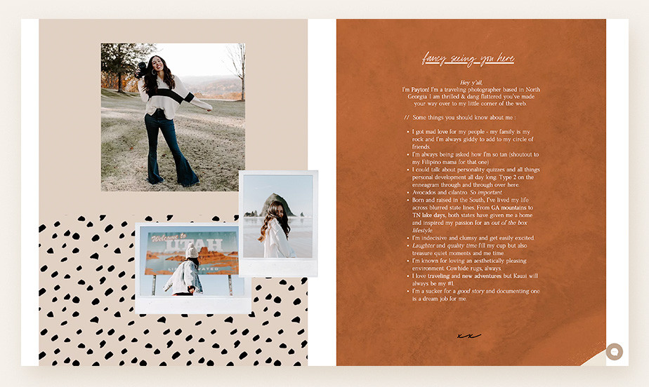 About us page example by Payton Pitts.