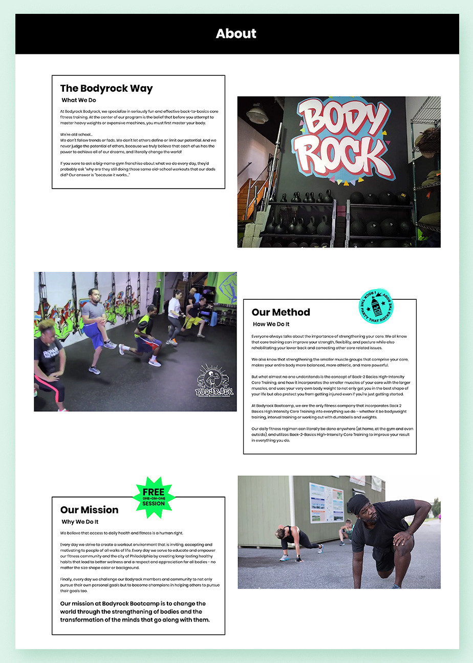 About us page example by Bodyrock Bootcamp