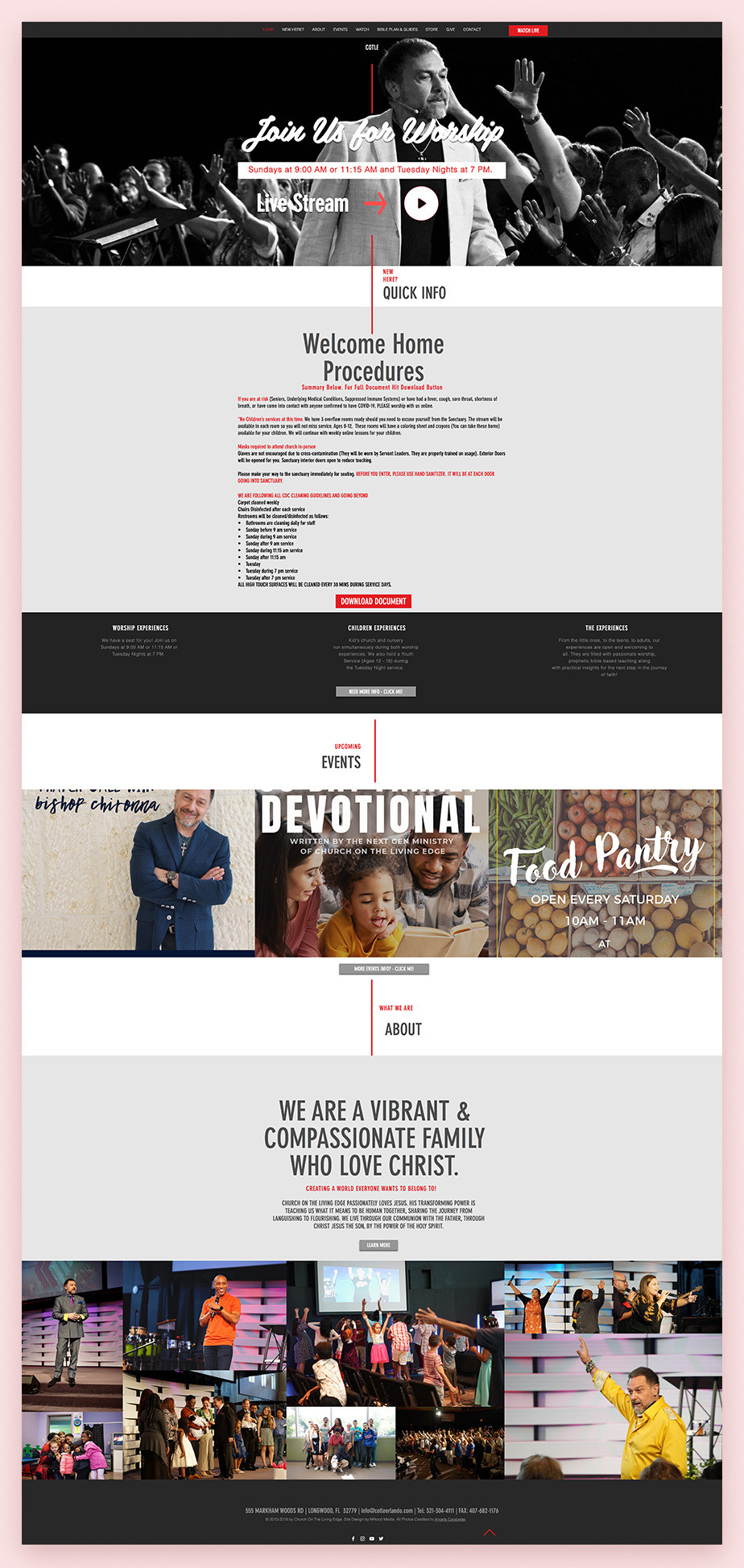 Best church websites example by Church on the Living Edge
