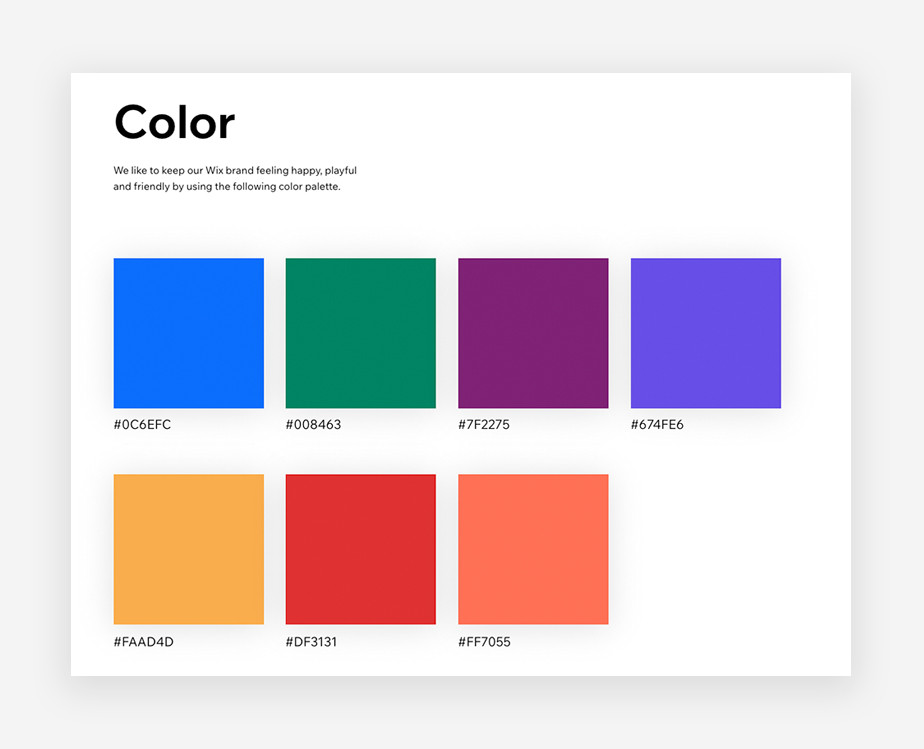 An image of the Wix brand style guide color palette