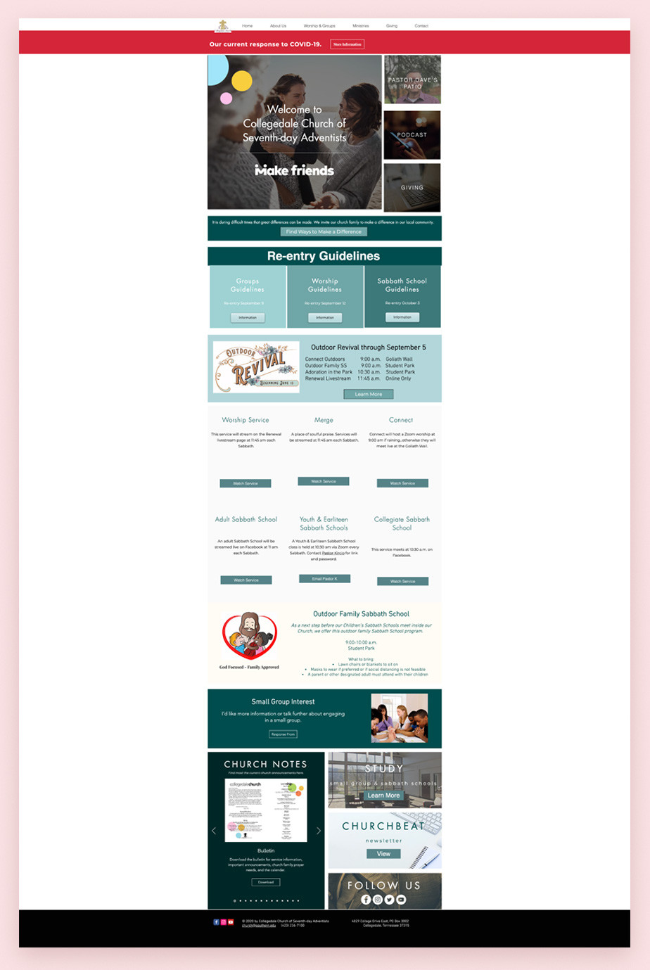Best church websites example by Collegedale Church