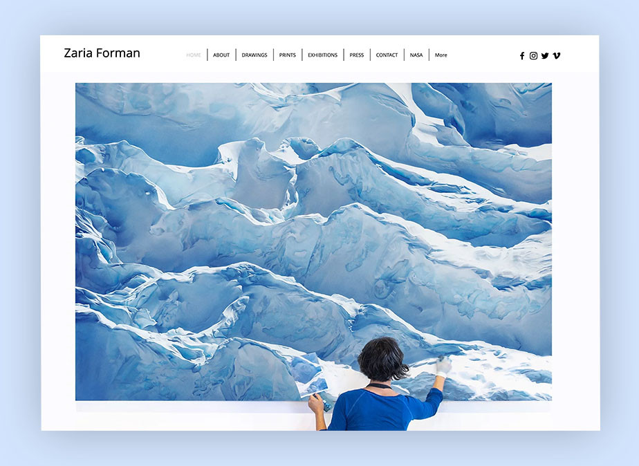 art portfolio website example by Zaria Forman