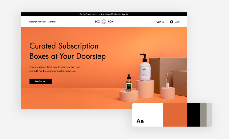 website template with good ux and branding