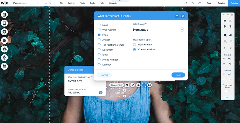 how to add a splash page with Wix