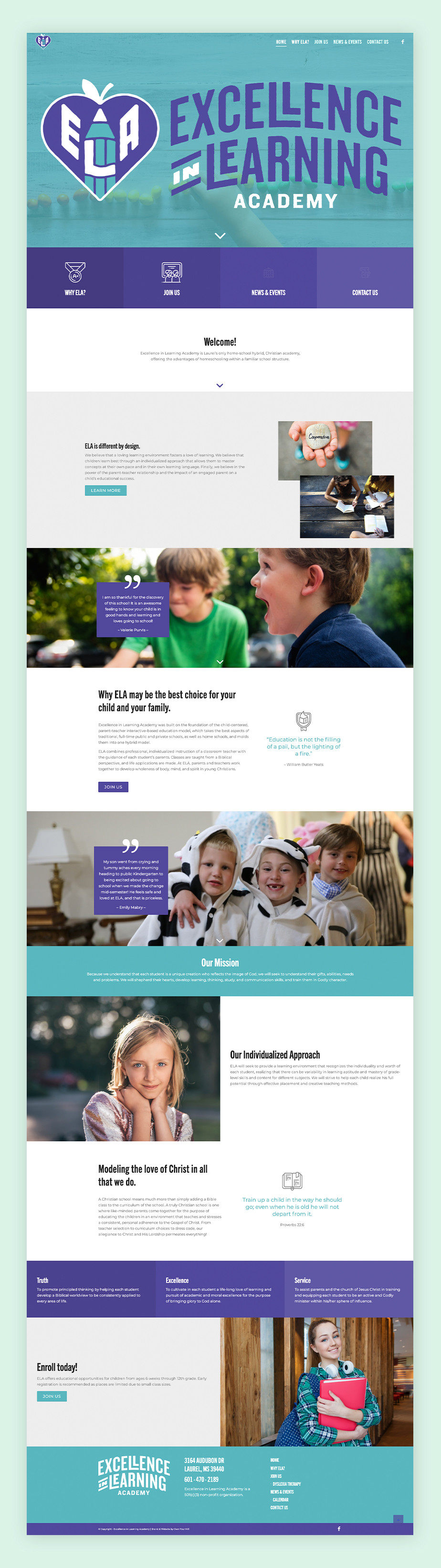 School website example by ELA Academy