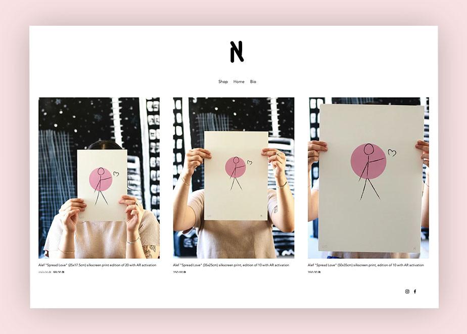 art portfolio website example by Alef