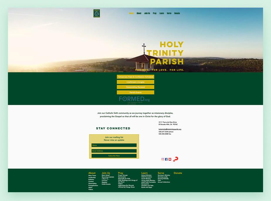 best church websites example by Holy Trinity Parish