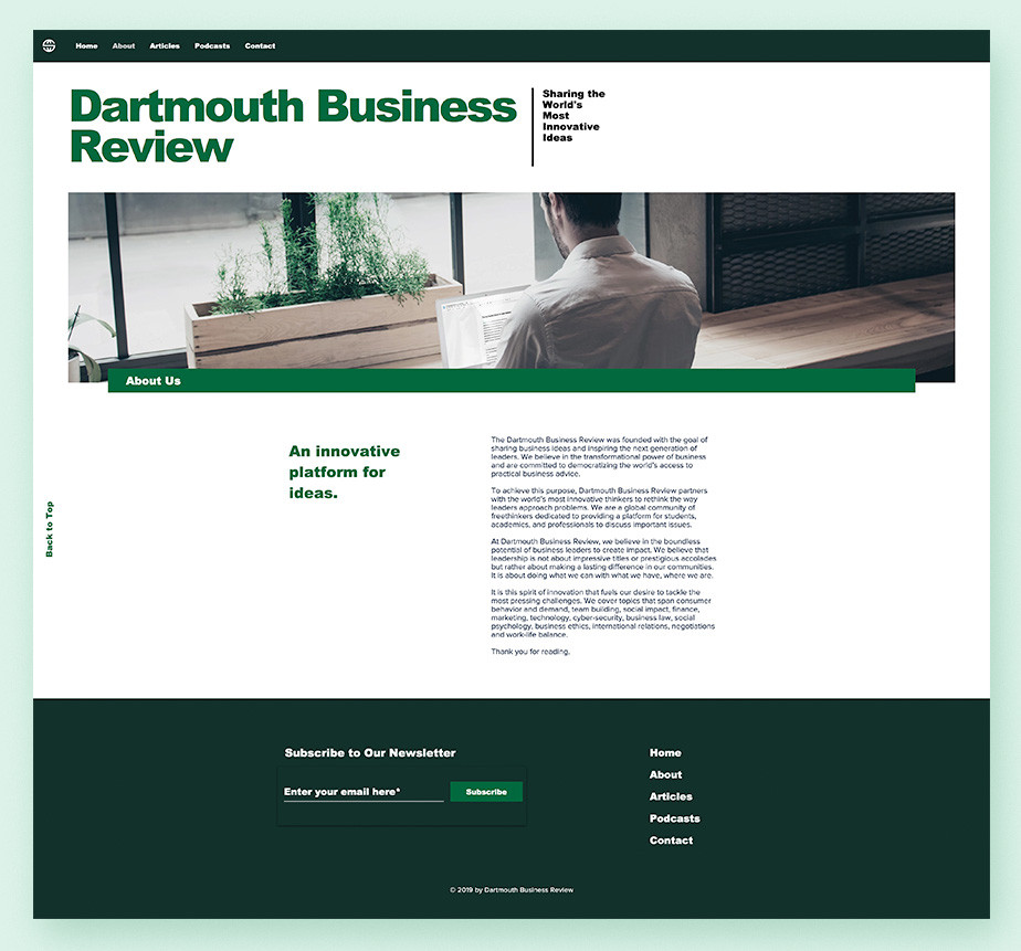 About us page example by Dartmouth Business Review