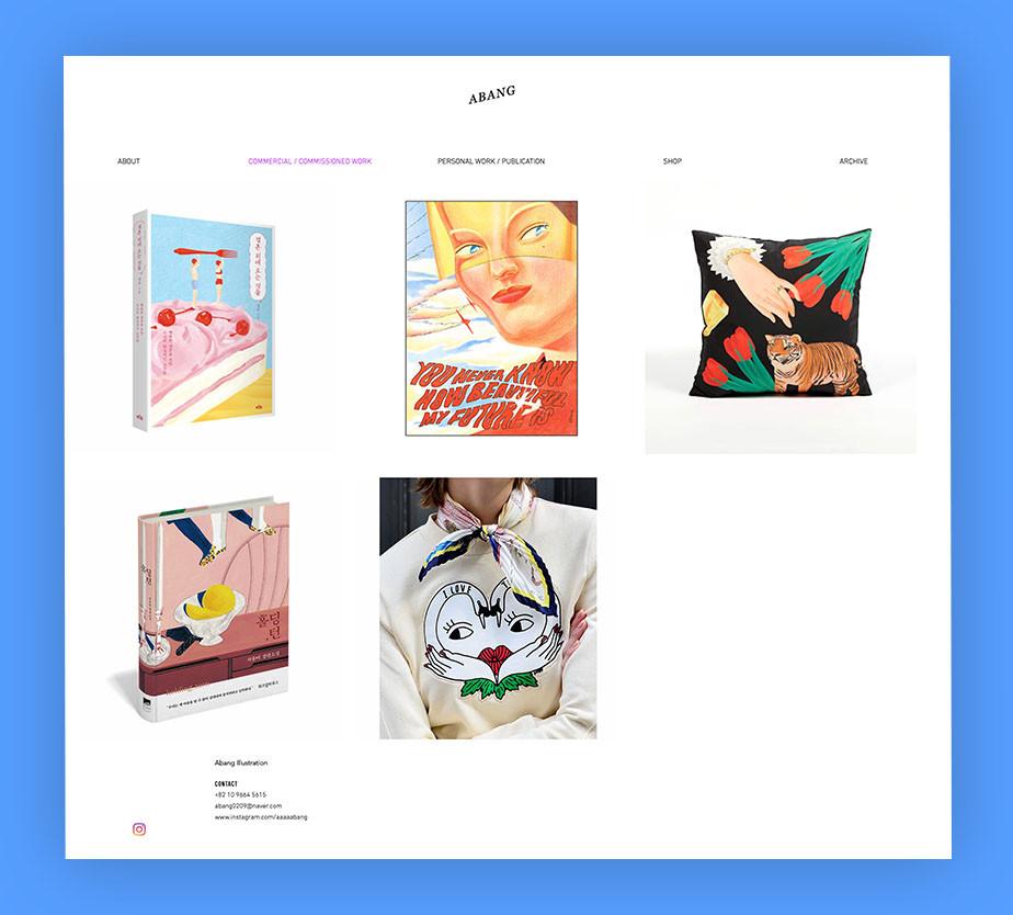 art portfolio website example by Abang