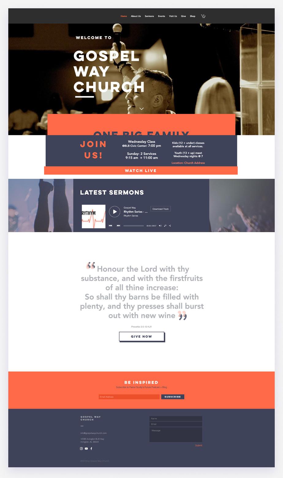Best church websites example by Gospel Way Church