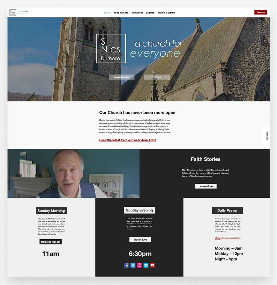 church website example by St. Nics