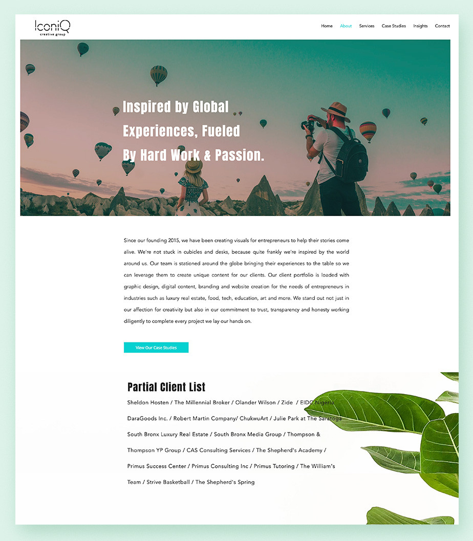 About Us page example by Iconiq Creative.