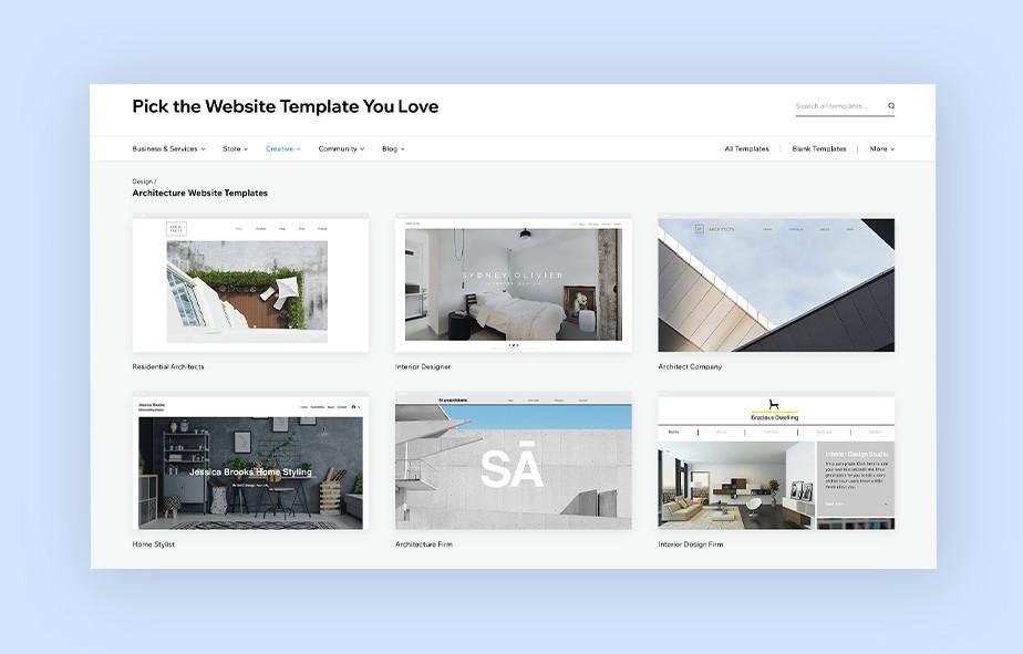 architecture portfolio website templates