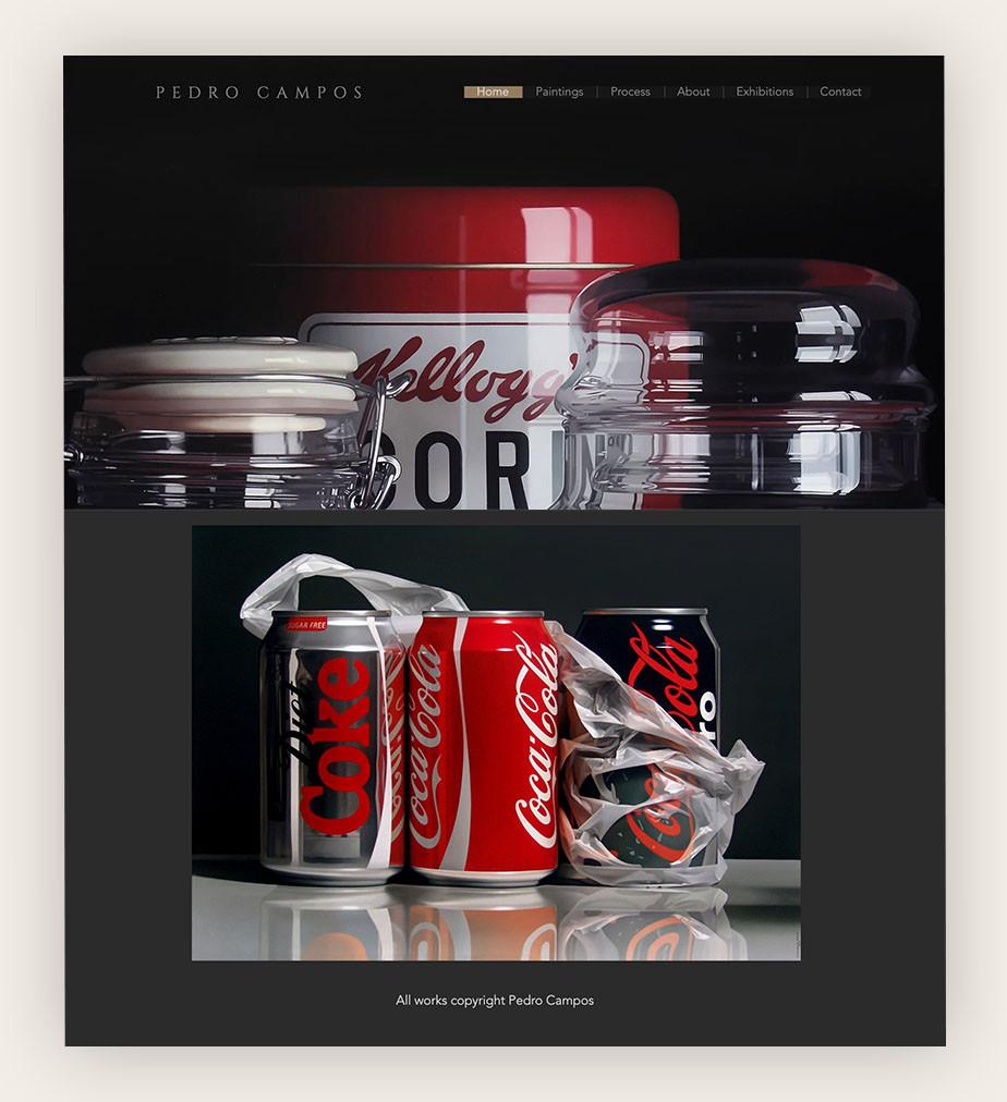 art portfolio website example by Pedro Campos
