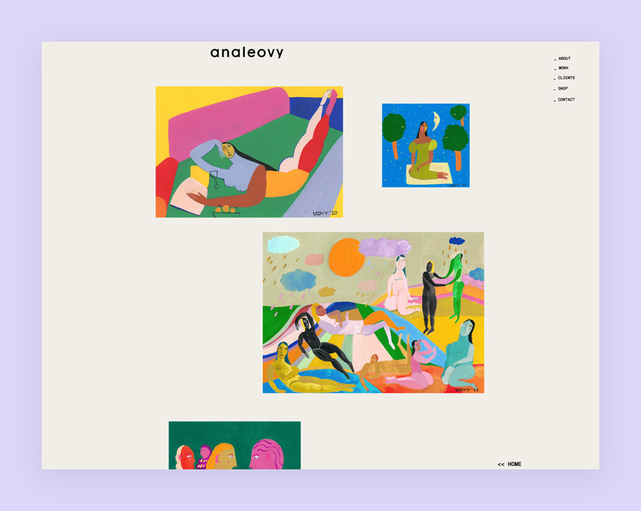 Illustrator website example by Ana Leovy