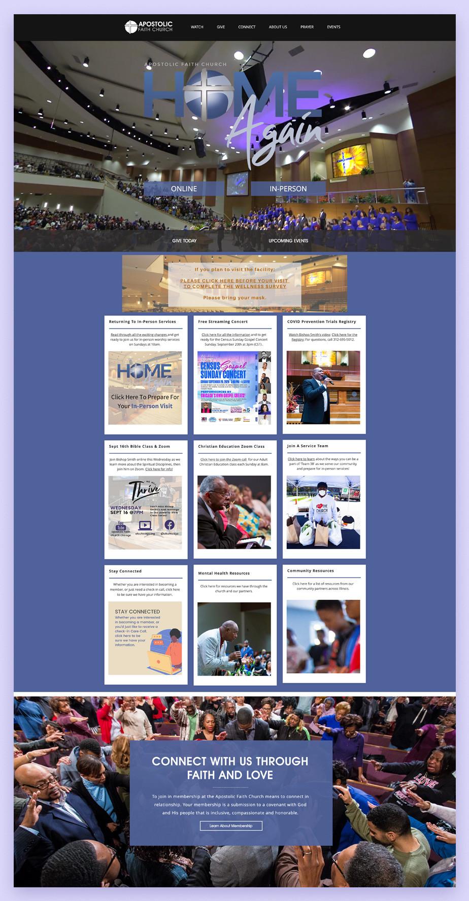 Best church websites example by Apostolic Faith Church