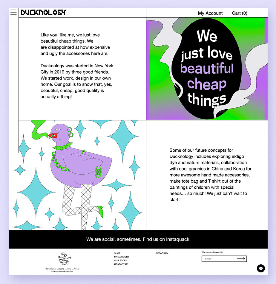 About us page example by Ducknology