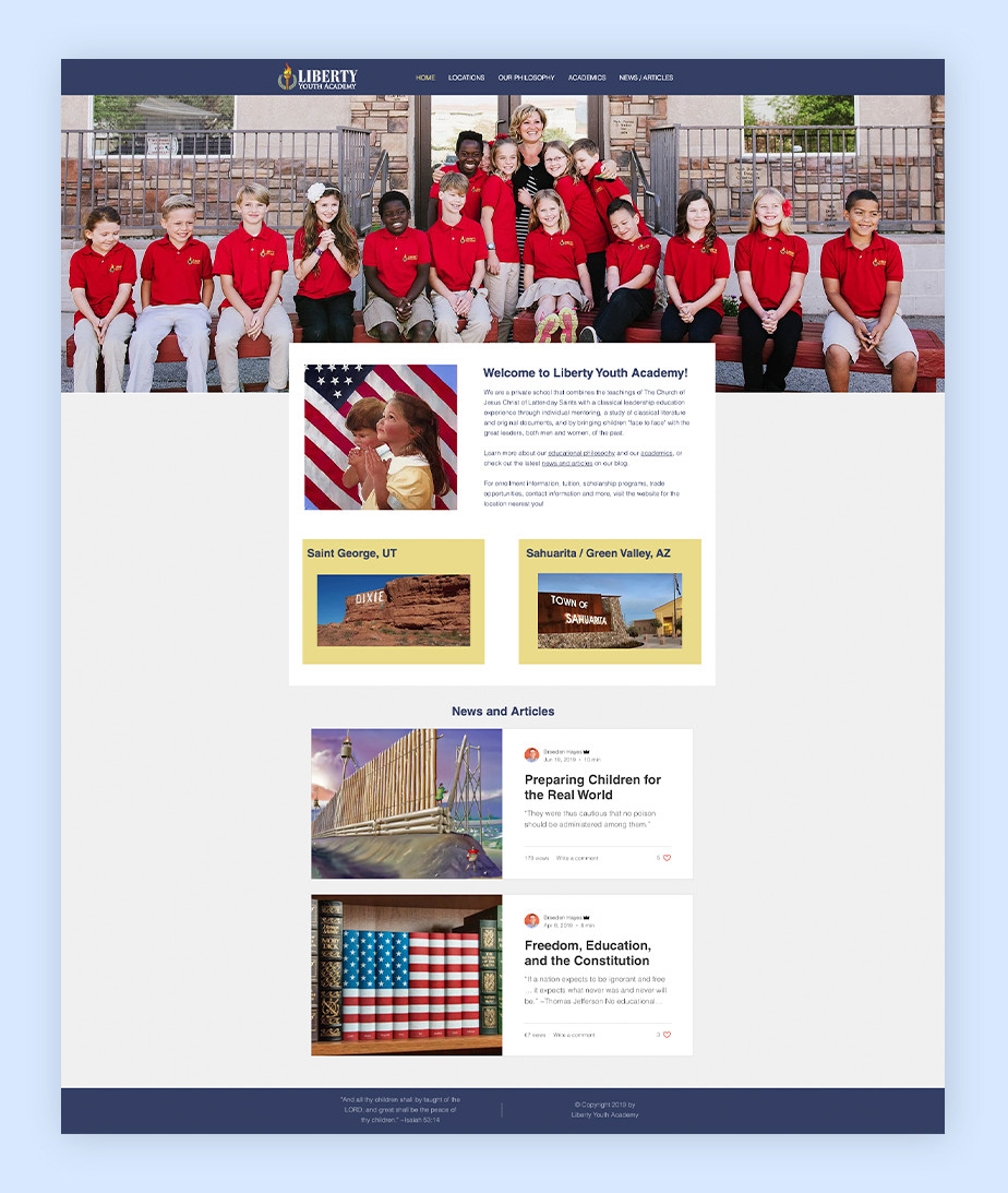 school website example by Liberty Youth Academy