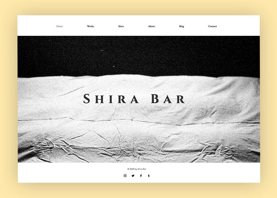 art portfolio website example by shira bar