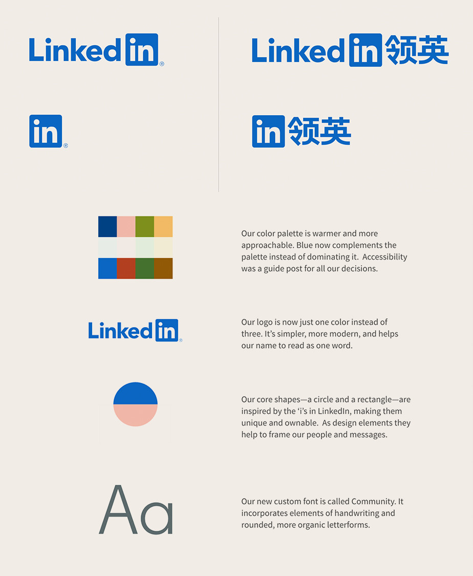Linkedin's brand style guide with its blue logo, color palette, and brand philosophy