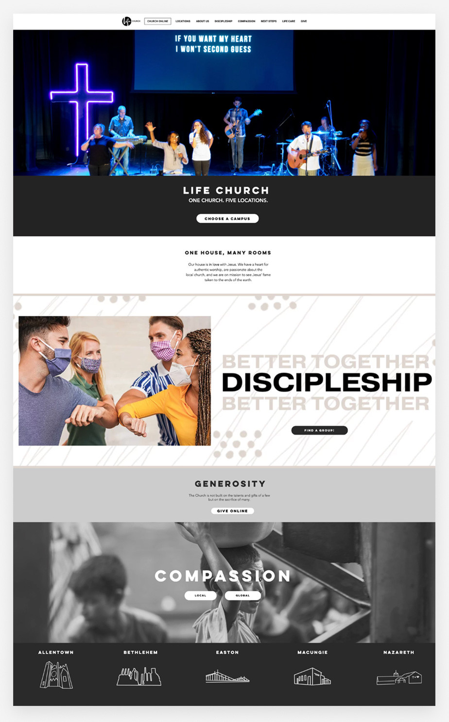 Best church websites example by Life Church