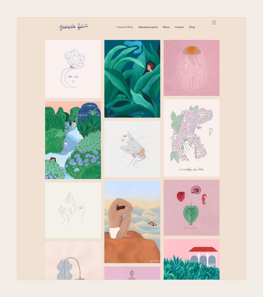 Illustrator website example by Isabelle Feliu