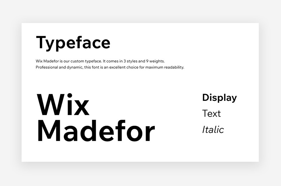 Image of Wix brand style guide showing the brand's custom typeface