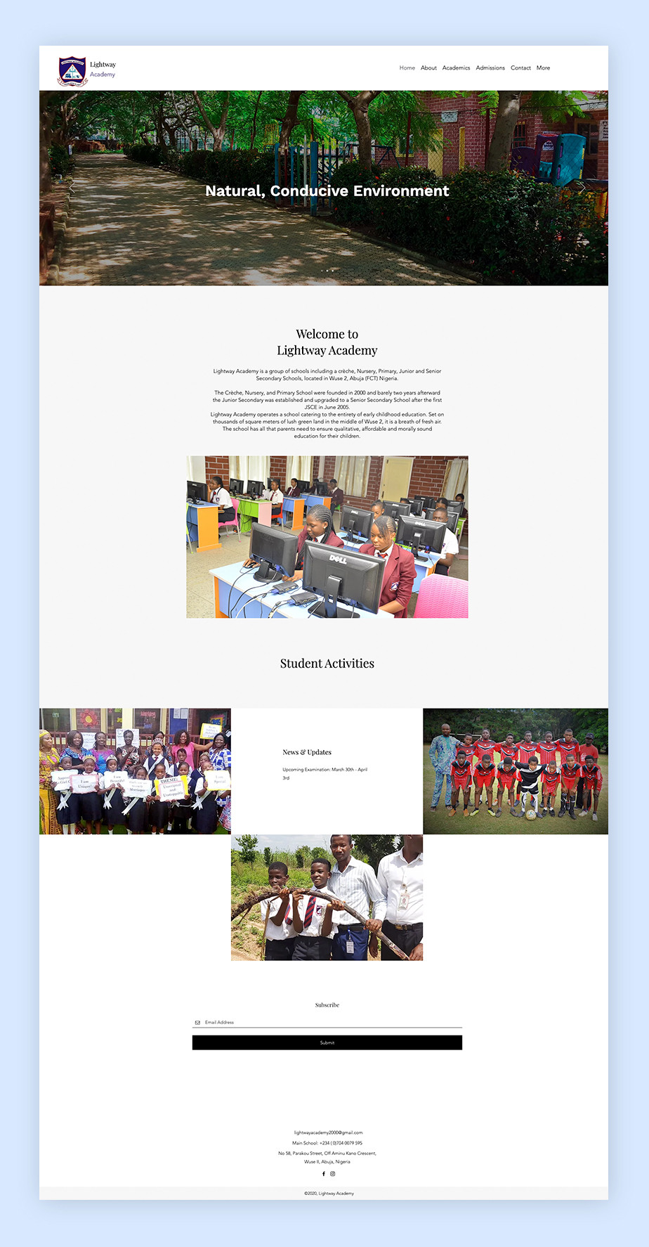 School website example by Lightway Academy