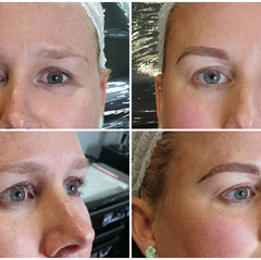 Natural hair stroke microblading