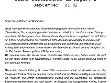 Kulturinsel Newsletter - August & September 🌿💚