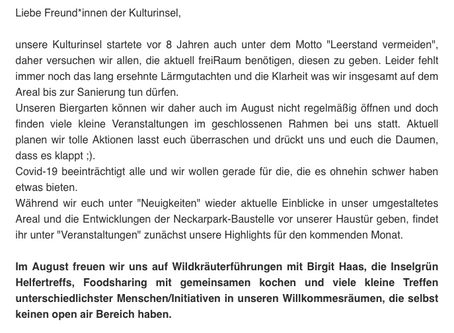 Kulturinsel-Newsletter August