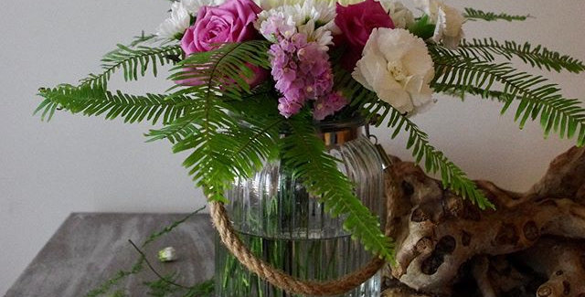 flowers in a decorative vase