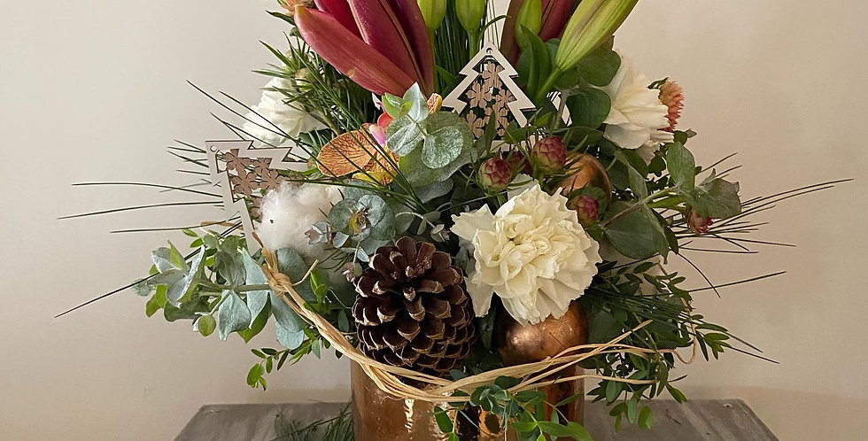 Festive Christmas flower arrangement