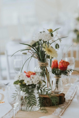 table arrangement with garden flowers
