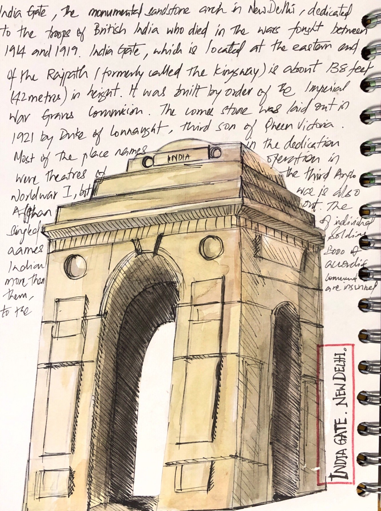 India-gate-delhi-sketch