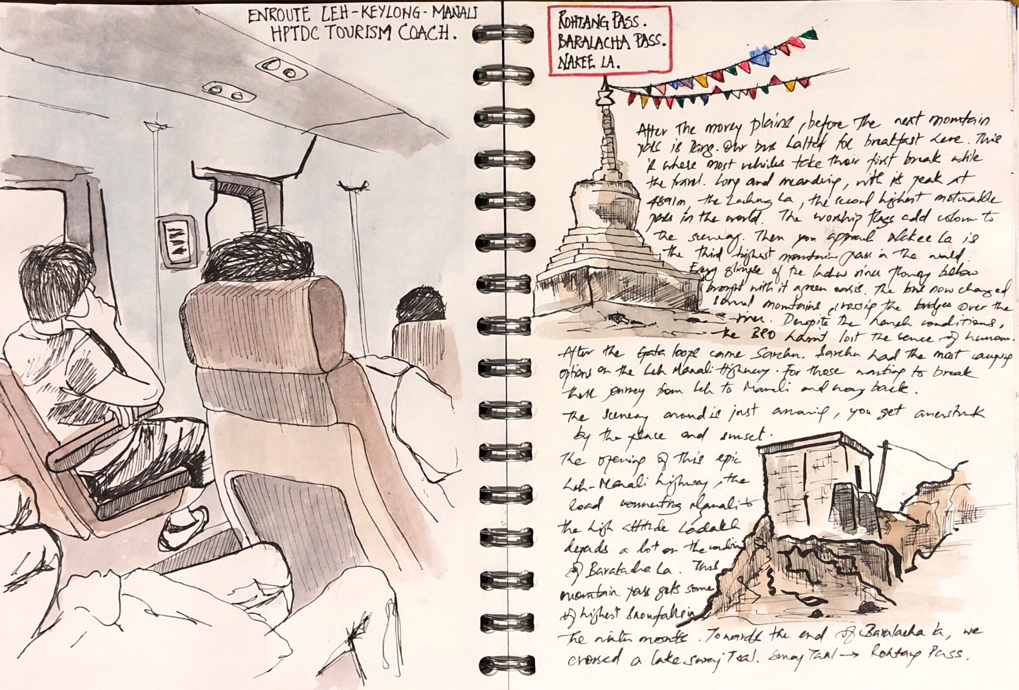 Bus-sketch-keylong-manali