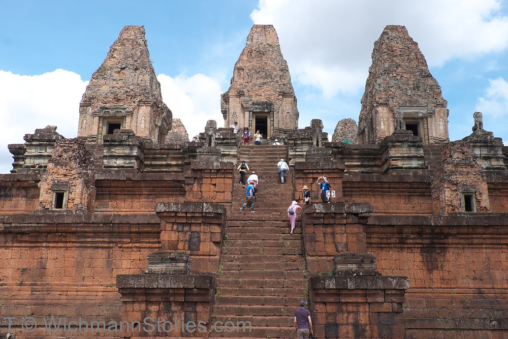 It's work to climb up the sairs at Pre Rup